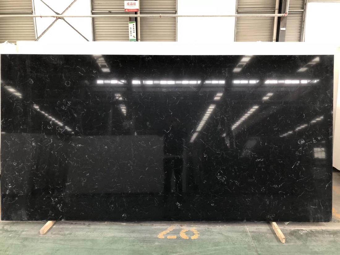 black marquina quartz stone slab