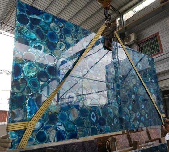 Semitransparent Blue Agate For Interior