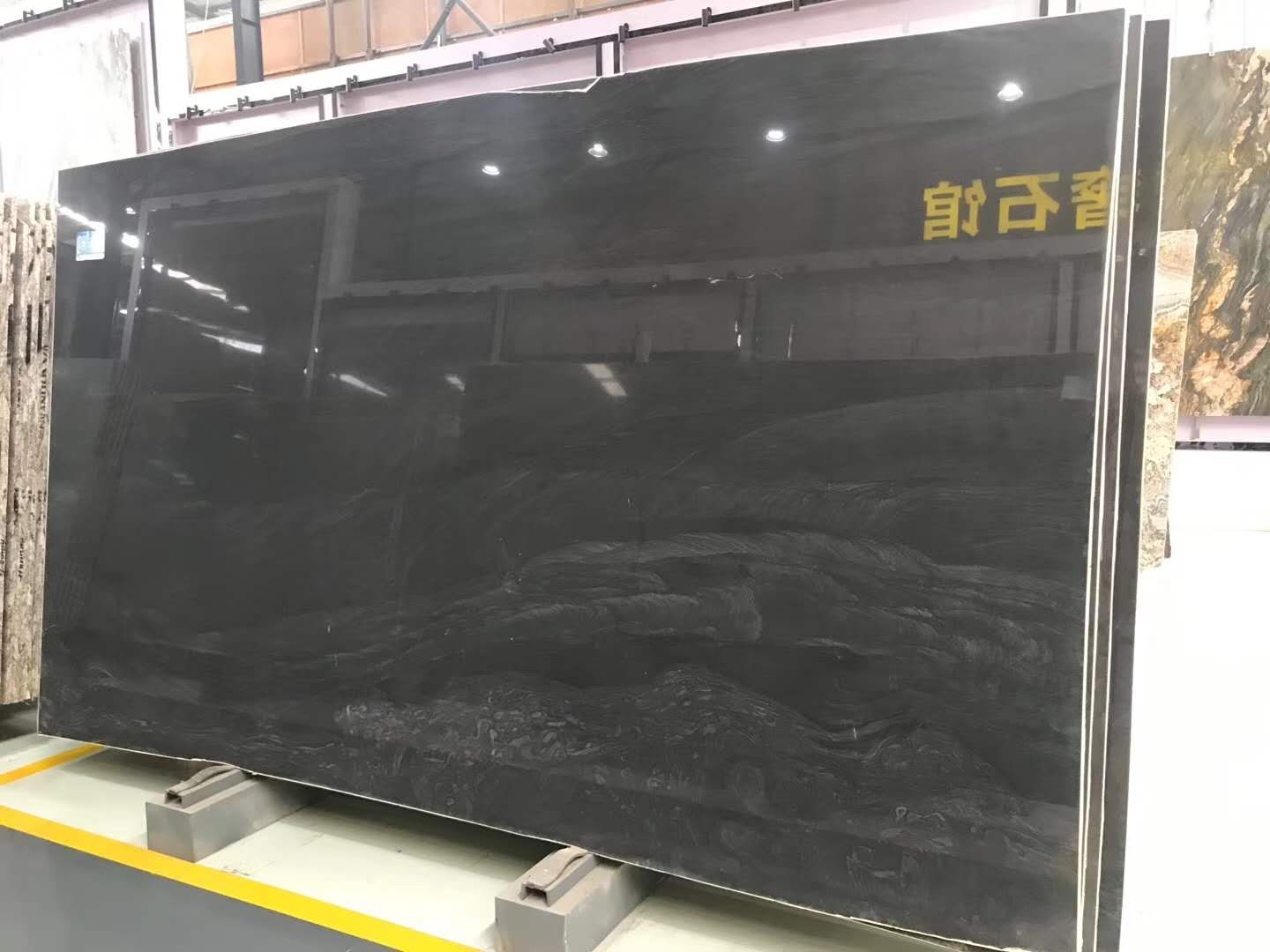 Polished Brilliant Black Quartzite Slab