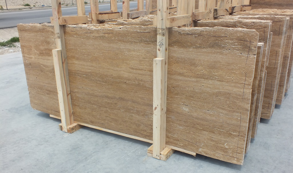 Cacao Travertine Slabs Honed Brown Travertine Stone Slabs