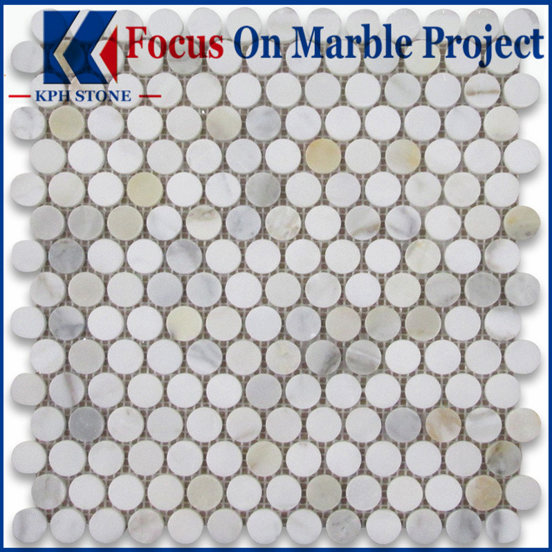 calacatta marble 34 penny round mosaic tile polished