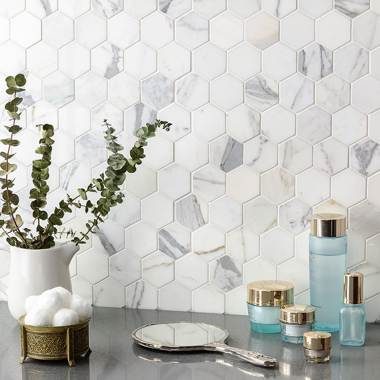 calacatta white stone hexagon backsplash mosaic