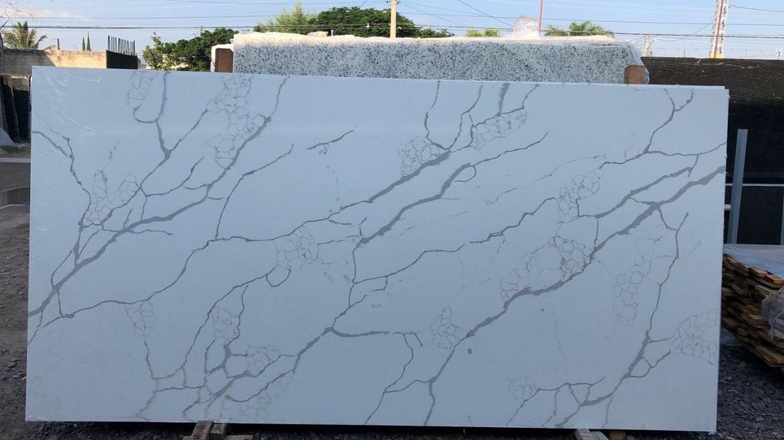 calacatta laza quartz stone slab