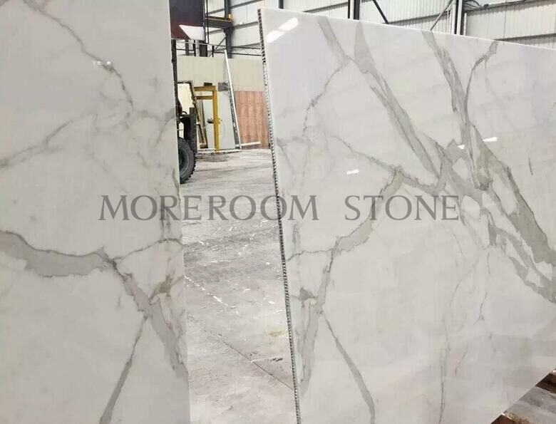 Calacatta Marble Laminated with aluminium honeycomb backer