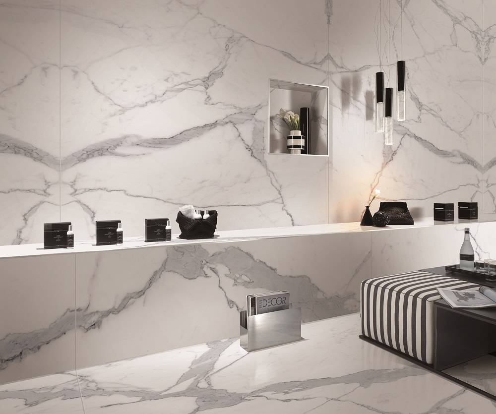 bookmatched calacatta porcelain slab panel