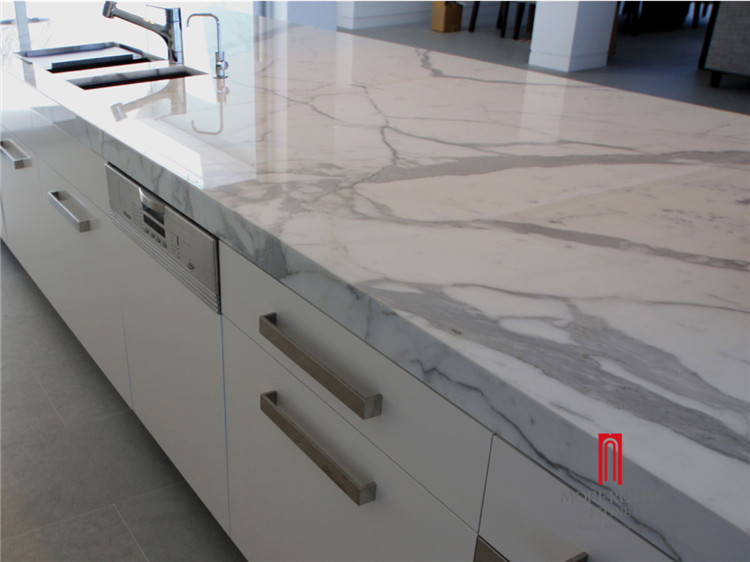 Polished calacatta white marble countertop
