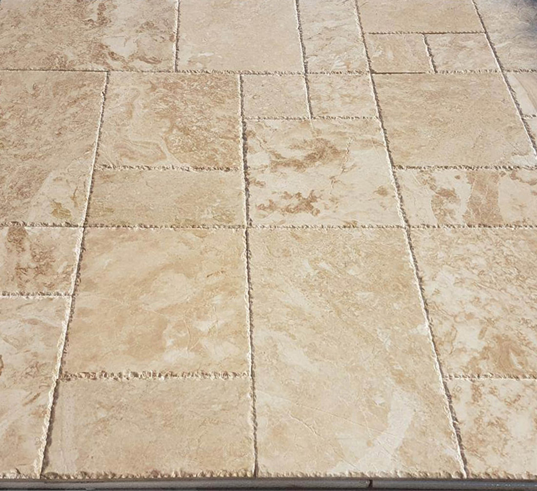Cappuccino Marble French Pattern Set Chiseled Edge