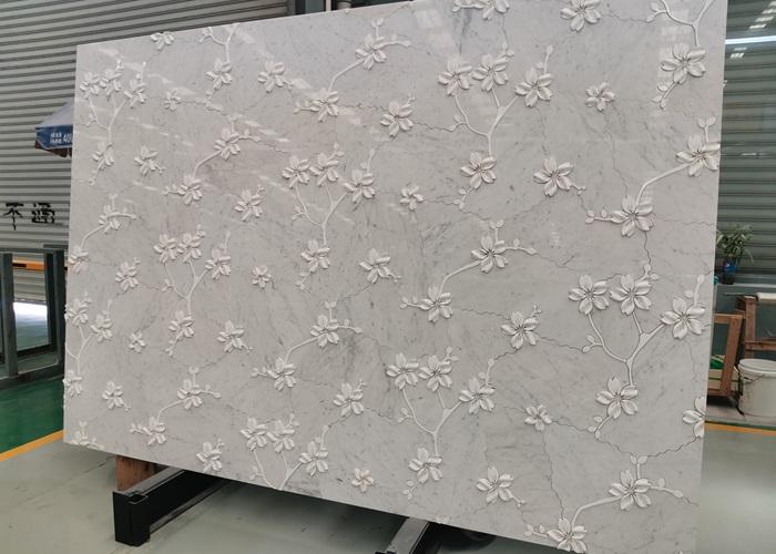 Carrara Marble Flower Waterjet Slabs Design