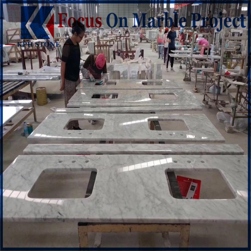 Custom Cararra White Marble Bathroom Vanitytops
