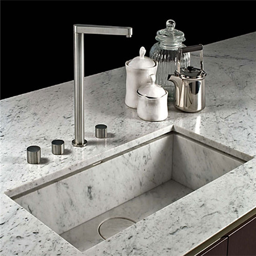 Carrara White Marble Vanity Top With Sink