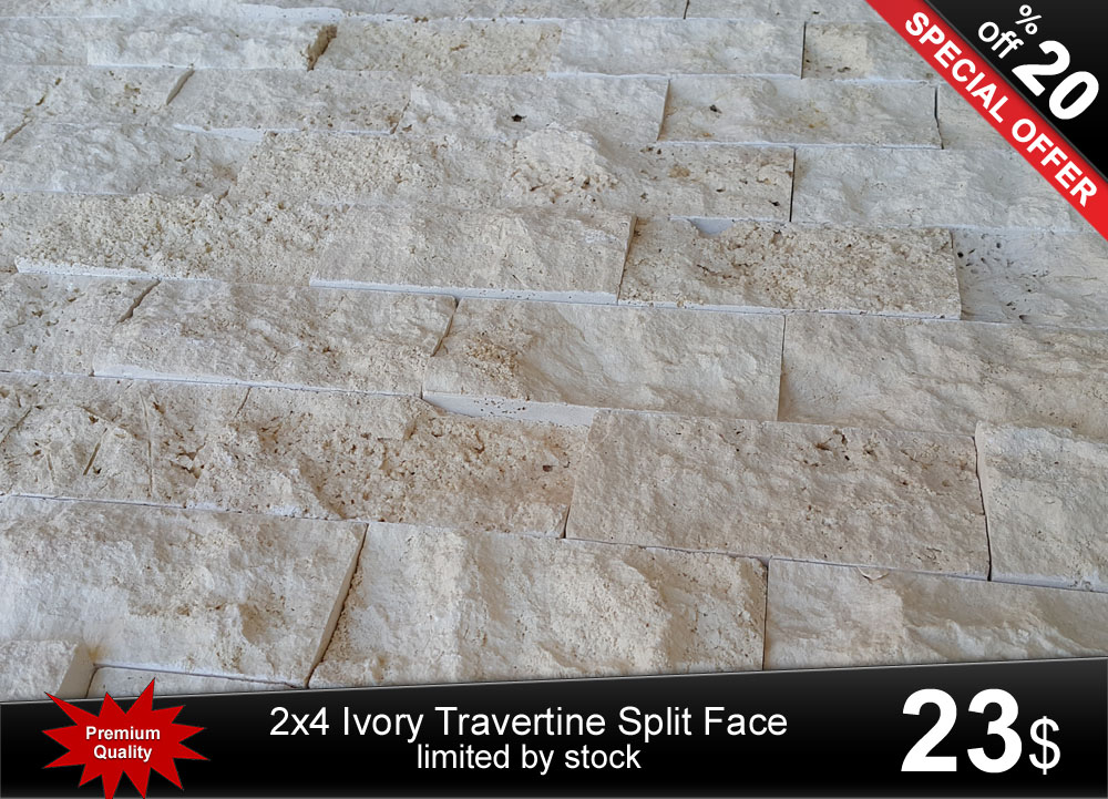 5x10cm classic ivory travertine split face wall cladding