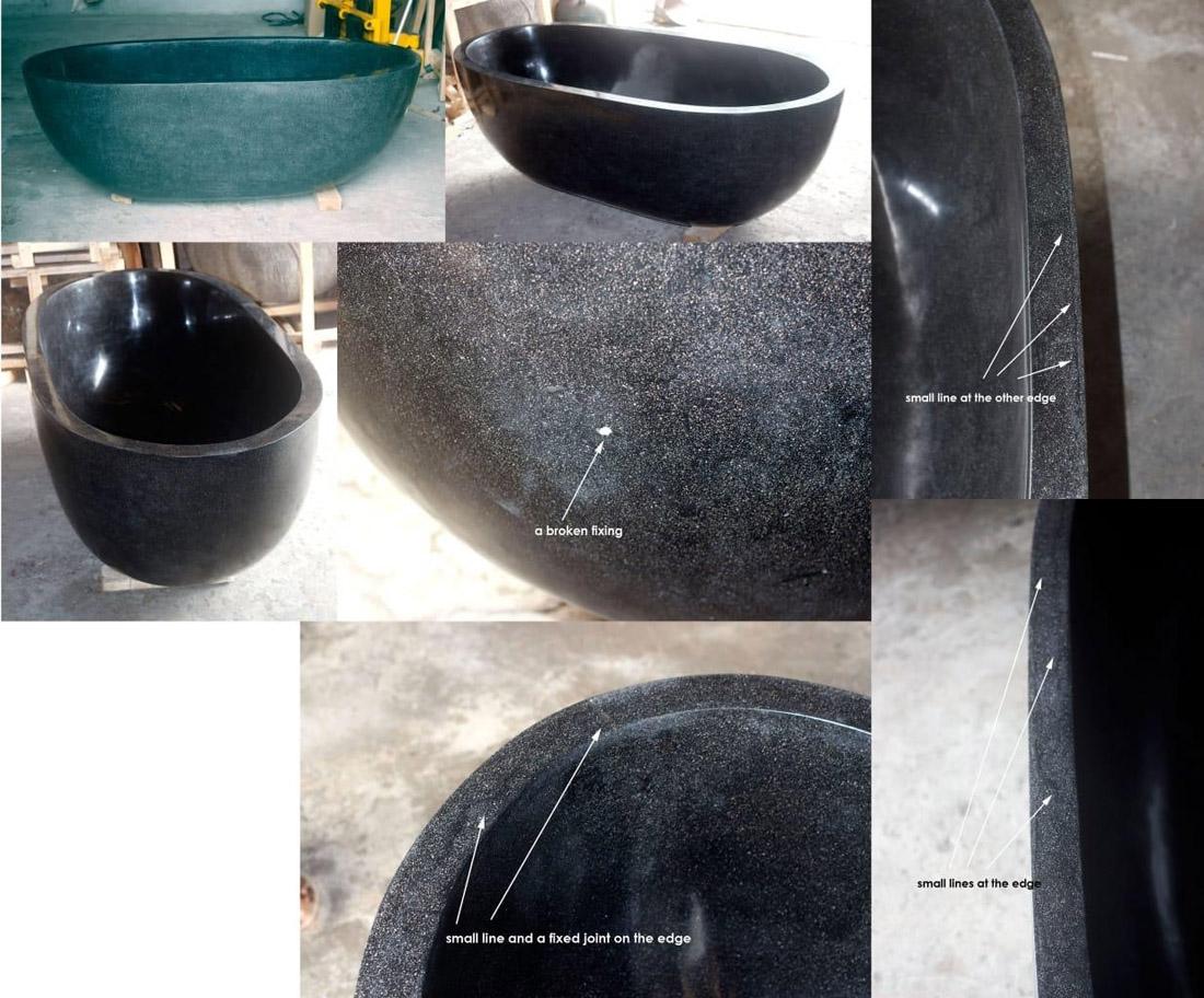 Indonesia Black Terrazzo Resin Bathtub