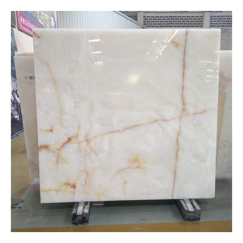White Onyx With Golden Veins Slab Tiles