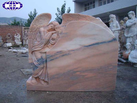 Angel Sleeping Sunset Marble Tombstone