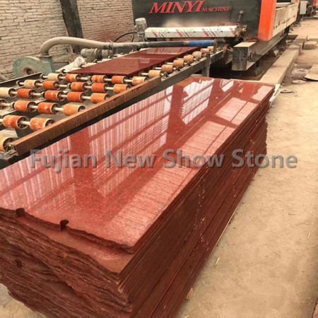 Dyed red granite slab