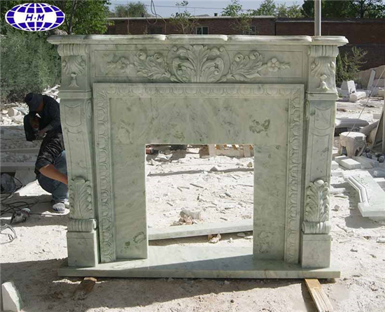 Mongolian Green Marble Fireplace Mantel Surround