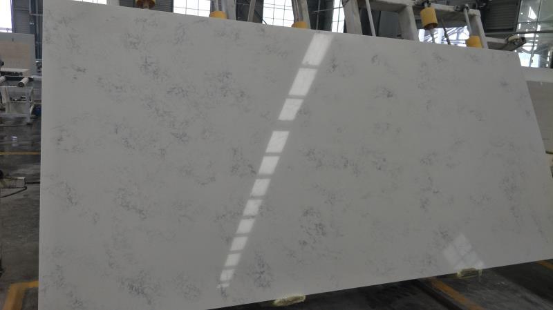cloudy carrara quartz stone slab