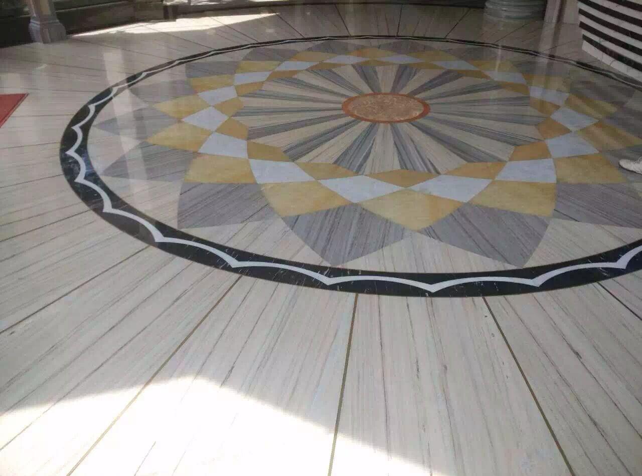 crystal wood water-jet medallion floor