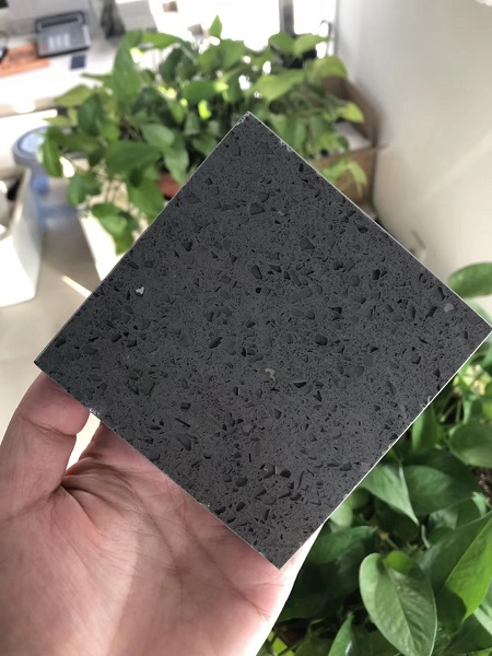 crystal dark grey quartz stone slab