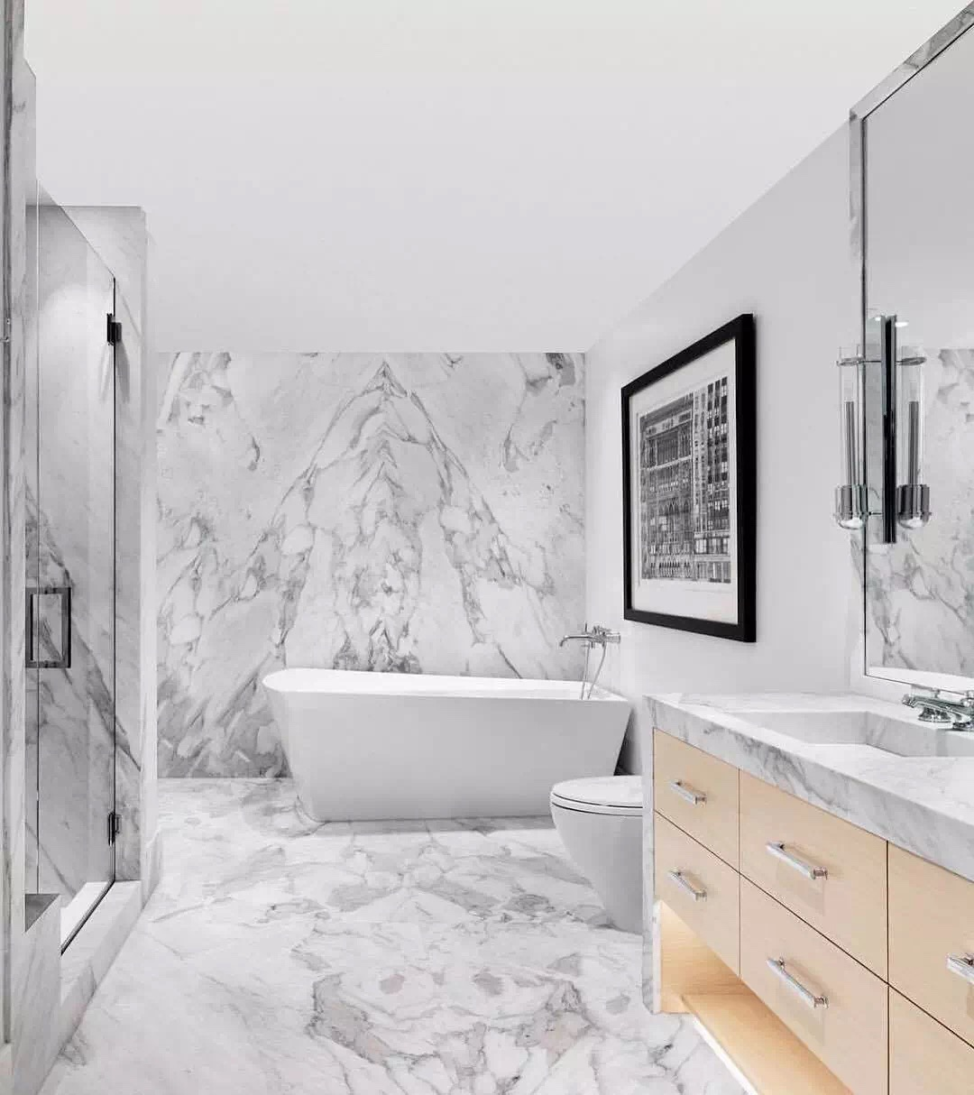 Fine Lines Snow White Marble bathroom vanity tops