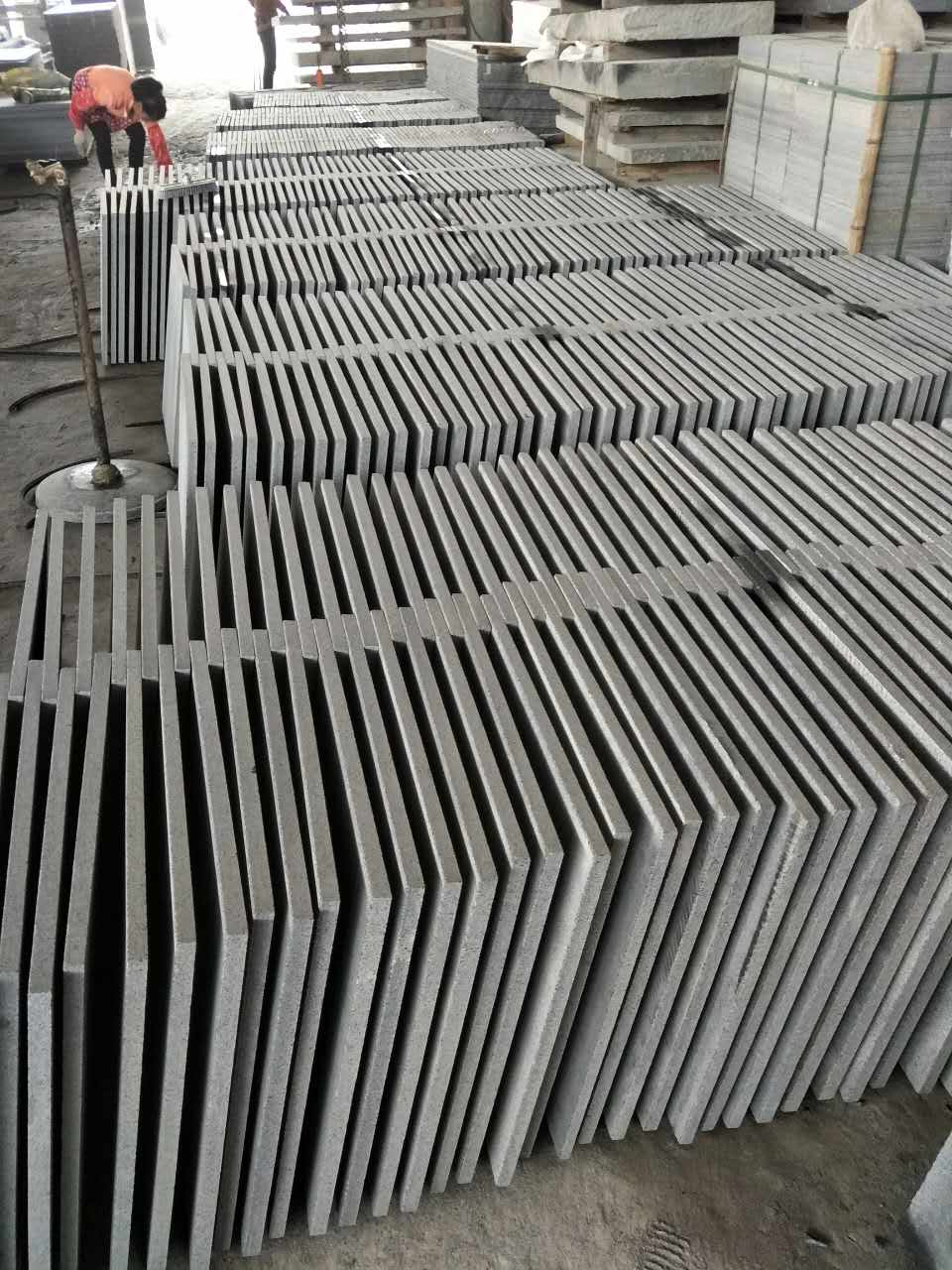 dark grey G654 paving tiles