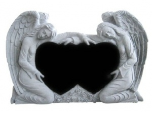 Double Heart Double Angels Tombstone In Black Color