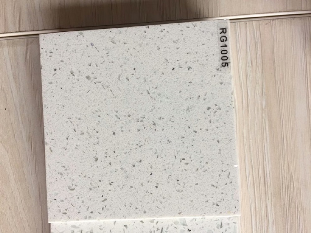 diamond white quartz stone slab