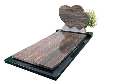 Impala Black Stone Double Heart Gravestone Monuments With Plate
