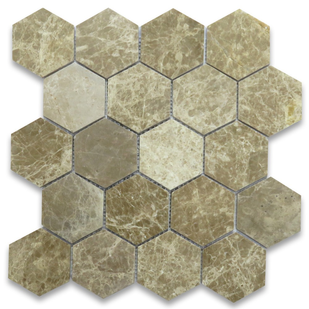 emperador light marble hexagon mosaic tile