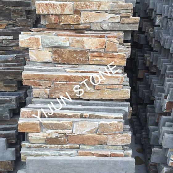 Warm Color Slate Cement Cultured Stone China Slate Ledgestone Fireplace Surrond Decorative