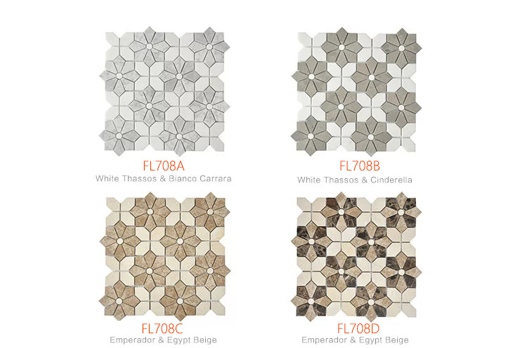 Dark Emperador  Light Emperador  New Beige flower waterjet mosaic tile