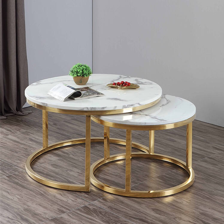 FurnitureJazz White Marble Tea Tabletop