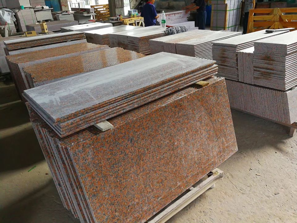 g562 maple red granite stair