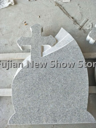 Polished G617 granite tombstone