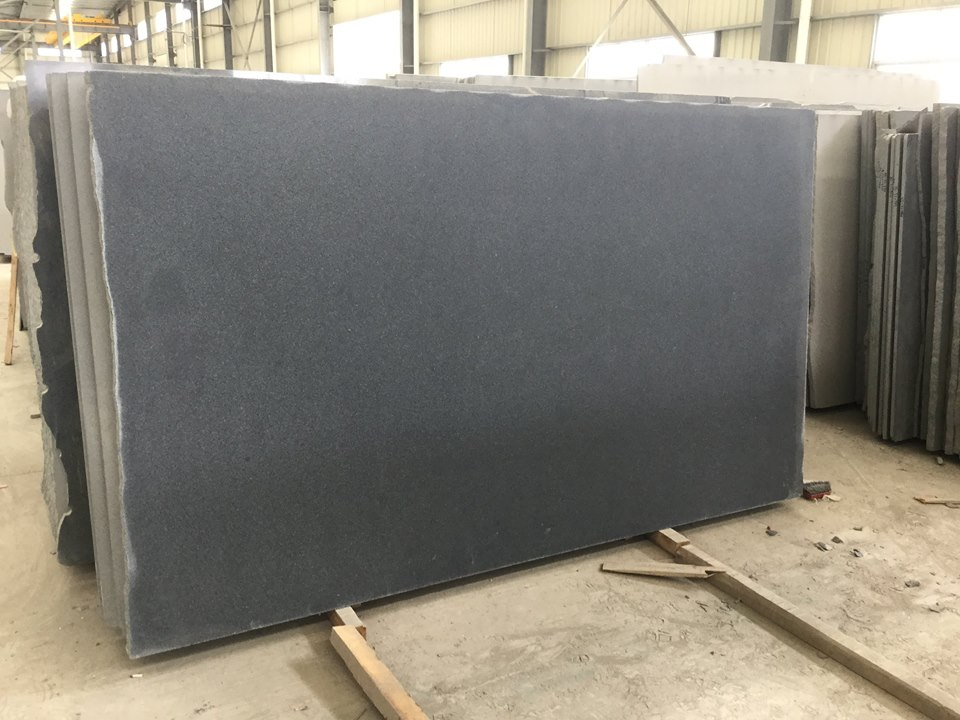 flamed brushed g654 dark grey granite slab