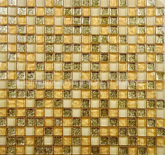 Yellow and white glass mosaic pattern
