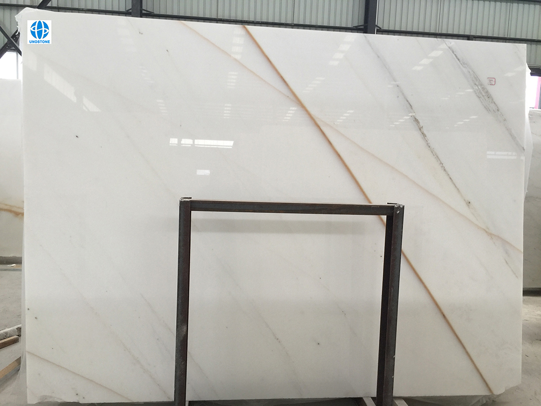 China White Marble Slabs Golden Thread Jade