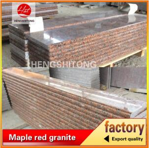 Vanity red granite stair step top red granite