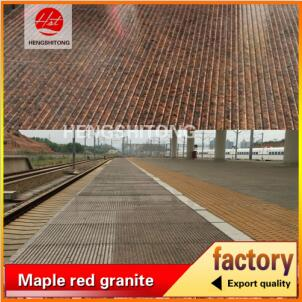 High speed railway station used skidproof china red granite