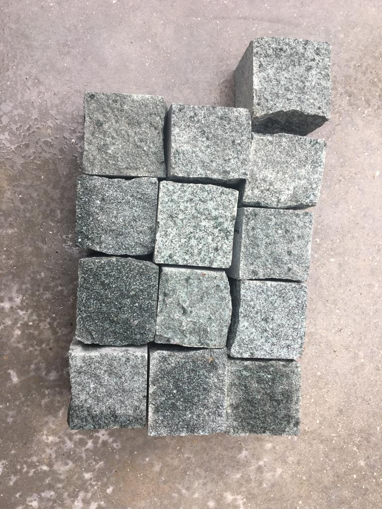 Green Granite Cube Cobblestone Pave