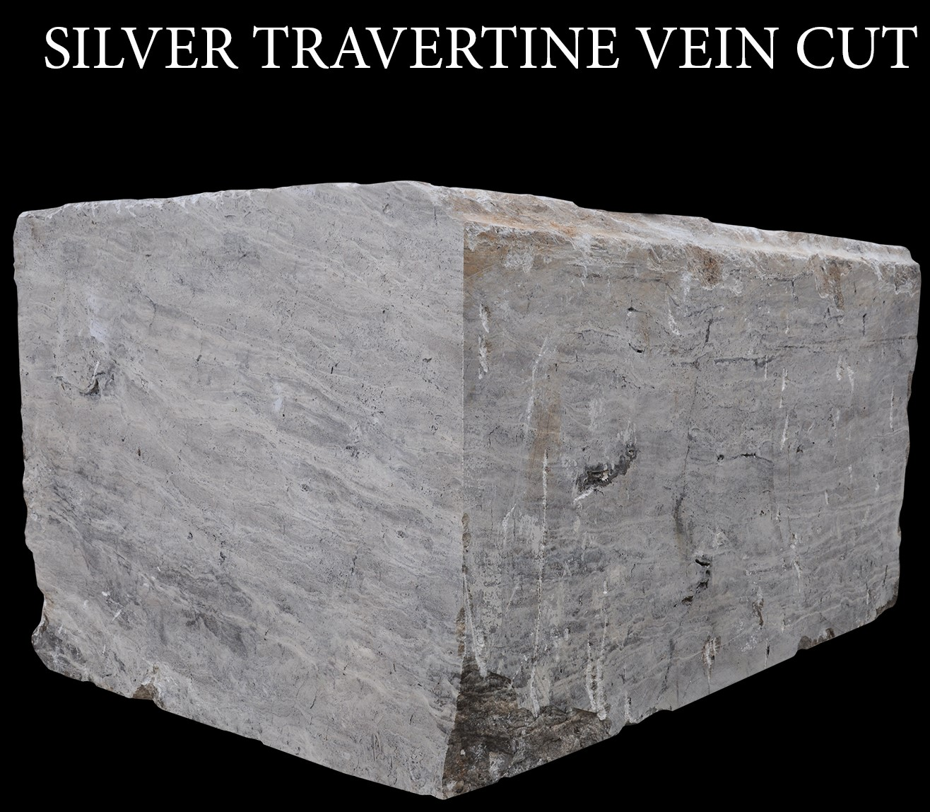 Silver Travertine Vein Cut Blocks  Grey Travertine Vein Cut Blocks
