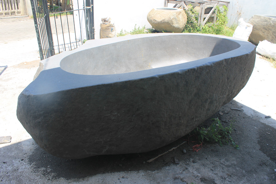 Bali Grey Bathtub River Stone Basalt