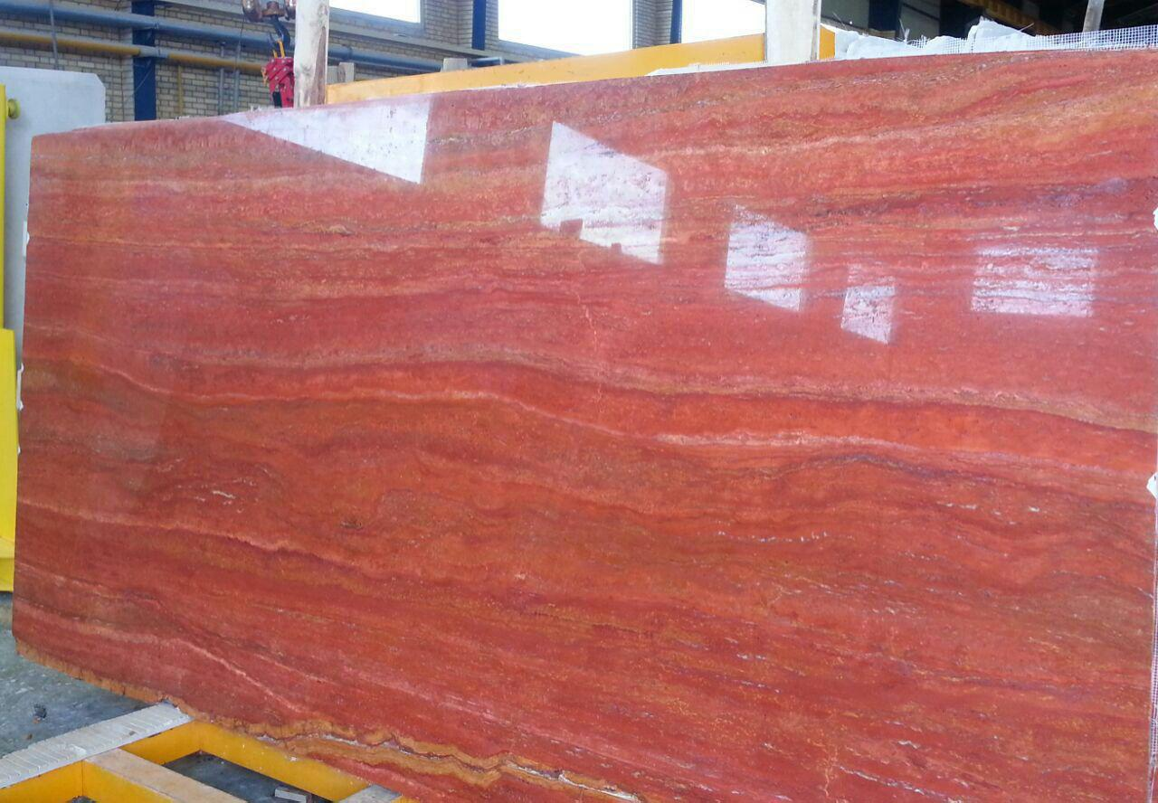 Iran red travertine slabs