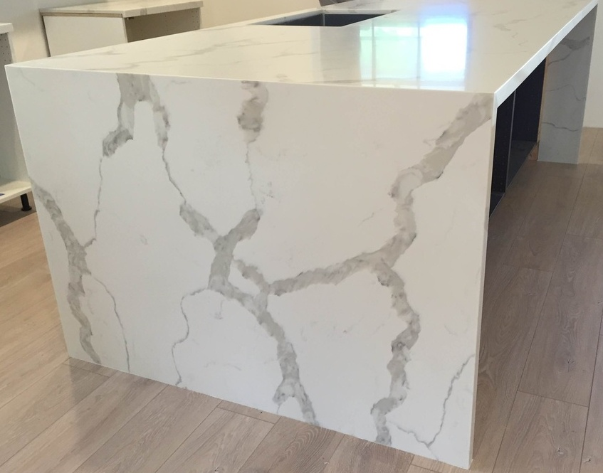 Calacatta Quartz Island Kitchen Countertops