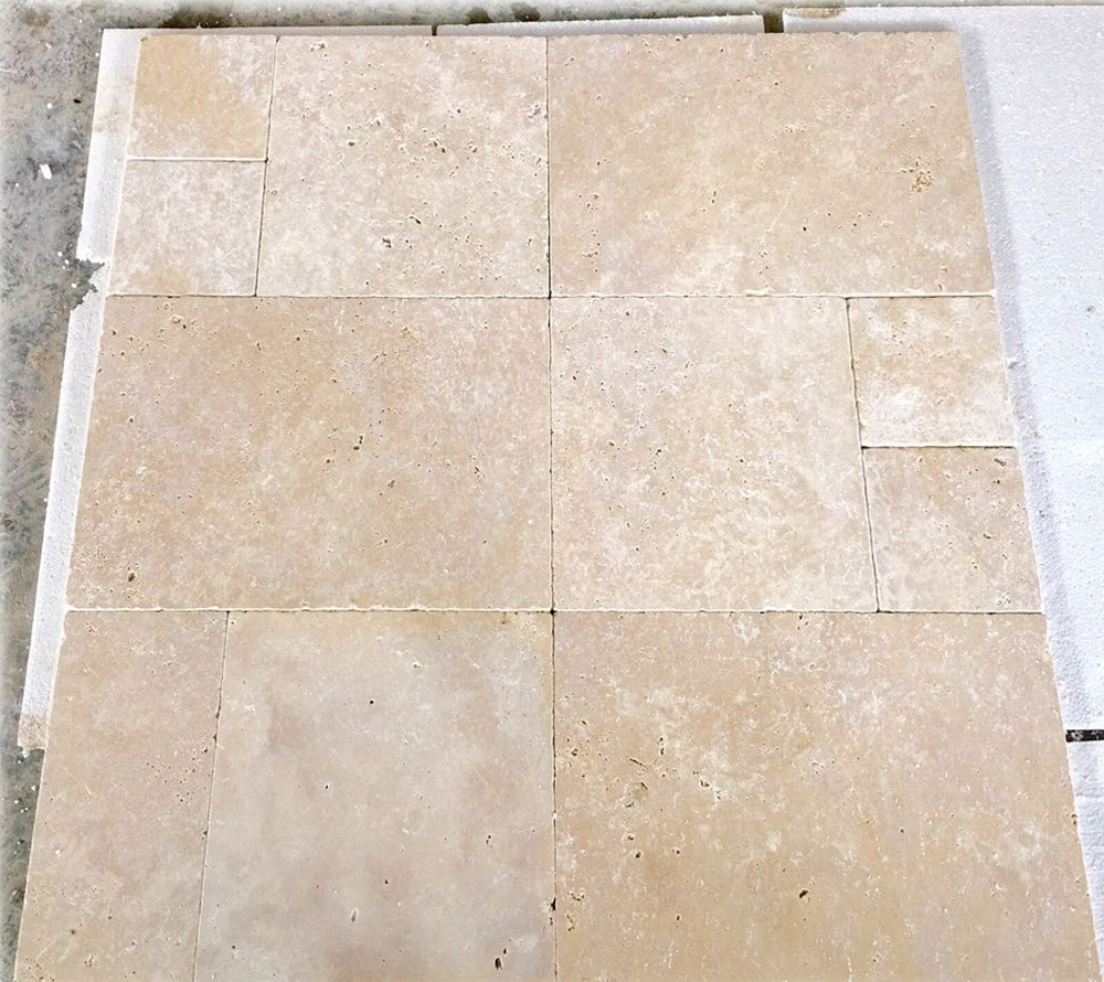 Ivory Travertine Tumbled French Pattern Set