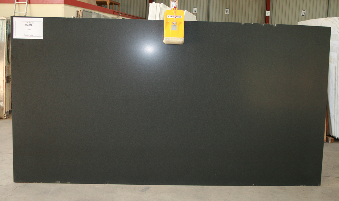 Jet black granite slab