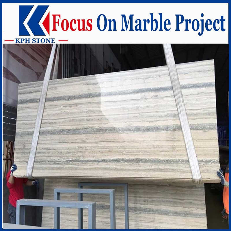Silver Travertine Polished Slabs with Top Quality