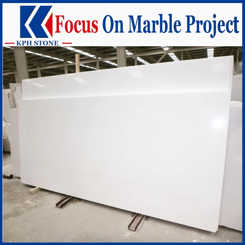 Pure crystal white marble slab for top hotel