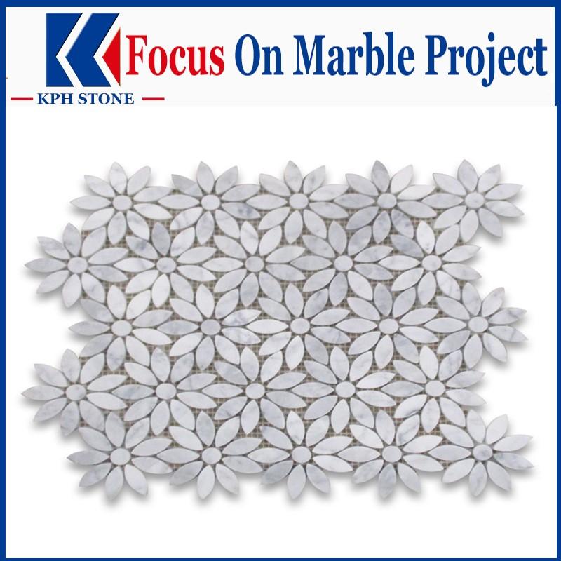 Carrara white daisy marble mosaic