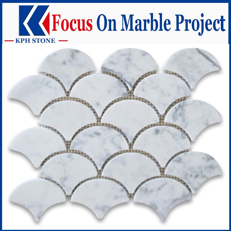 Carrara white fish scale marble mosaic